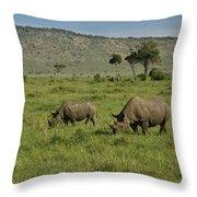 Black Rhinos Throw Pillow