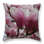 Blooming Pink Magnolias Throw Pillow