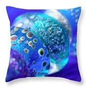 Blue Beads 2 Throw Pillow
