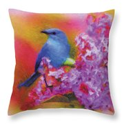 Blue Bird In The Lilac's Throw Pillow