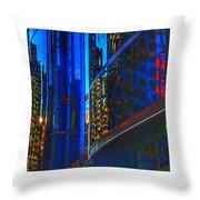 Blue Cityscape Throw Pillow