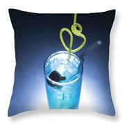 Blue Curacao Cocktail Drink With Cherry Throw Pillow