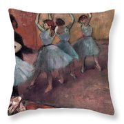 Blue Dancers Throw Pillow by Edgar Degas
