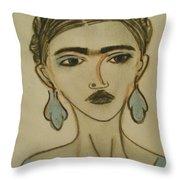 Blue Frida Throw Pillow