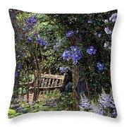 Blue Garden Respite Throw Pillow