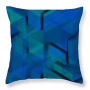 Blue Geometric Composition 1 Throw Pillow