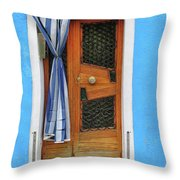 Blue In Burano Throw Pillow