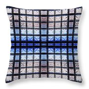 Blue Toned Glass Brick Window Abstract  Throw Pillow