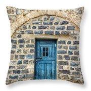 Blue Traditional Door Throw Pillow