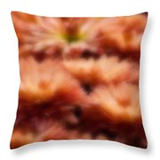 Blurred Seasonal Flowers With Yellow Background Throw Pillow
