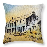 Boardinghouse Cable Ghost Town Montana Throw Pillow