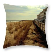 Boardwalk In Winter Throw Pillow