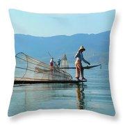 Boatmen On Inle Lake  Throw Pillow
