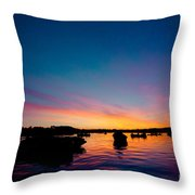Boats And Sunrise Above Lake Water Summer Time Latvia Ezera Skanas Throw Pillow