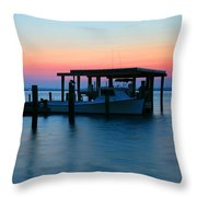 Boats At Sunset Throw Pillow