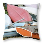 Boats Boats And More Boats Throw Pillow