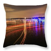 Boats Light Trails On Lake Wylie After 4th Of July Fireworks Throw Pillow