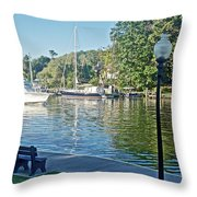 Boats On The Kalamazoo River In Saugatuck, Michigan Throw Pillow