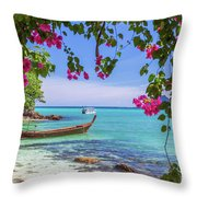 Boats, The Andaman Sea And Hills In Ko Phi Phi Don, Thailand Throw Pillow