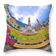 Bolzano Main Square Planet Perspective Panorama Throw Pillow