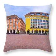 Bolzano Main Square Waltherplatz Panoramic View Throw Pillow