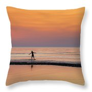Boogie Boarding Throw Pillow