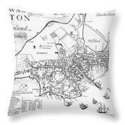 Boston Map, 1722 Throw Pillow