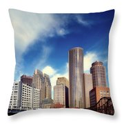 Boston Skyline 1980s Throw Pillow