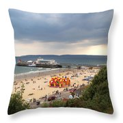 Bournemouth Pier And Beach Throw Pillow
