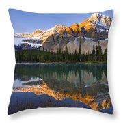 Bow Lake And Crowfoot Mountain Throw Pillow