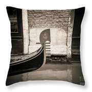 Bow Of A Gondola, Venice, Italy, Europe Throw Pillow
