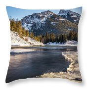 Bow River With Mountain View Banf National Park Throw Pillow