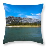 Bow Valley Campground Throw Pillow by Adnan Bhatti