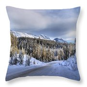 Bow Valley Parkway Winter Conditions Throw Pillow