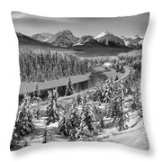 Bow Valley River View Black And White Throw Pillow