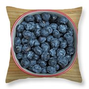 Bowl Of Fresh Blueberries Throw Pillow