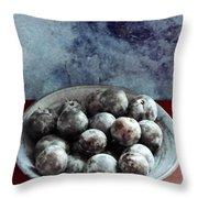 Bowl Of Plums Still Life Throw Pillow