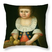 Boy With A Basket Of Fruit Throw Pillow