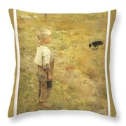 Boy With A Crow Throw Pillow