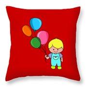 Boy With Balloons Throw Pillow