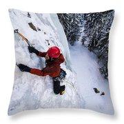 Brandon Prince Climbing Genesis I Area In Hyalite Canyon  Throw Pillow