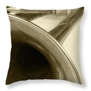 Brass Trumpet Bell And Tubing Throw Pillow
