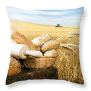 Bread And Wheat Cereal Crops Throw Pillow by Deyan Georgiev
