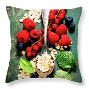 Breakfast With Oats And Berries Throw Pillow
