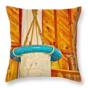 Breeches Buoy In Sleeping Bear Point Boathouse In Sleeping Bear Dunes National Lakeshore-michigan Throw Pillow