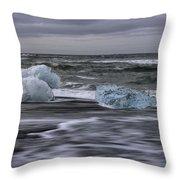 Brethamerkursandur Iceberg Beach Iceland 2155 Throw Pillow