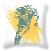 Brett Favre Green Bay Packers Water Color Art 1 Throw Pillow
