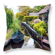 Bridge And River In Old Dutch Village Throw Pillow