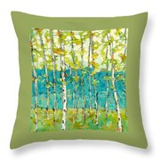 Bright Birches Throw Pillow