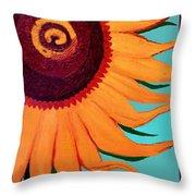 Bright Happy Sunflower Throw Pillow